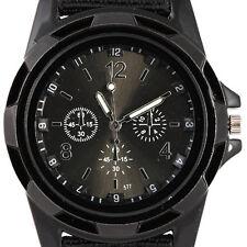 nuevo reloj de los hombres del reloj del deporte del cuarzo banda de tela negro