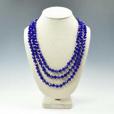 """72"""" Faceted Cobalt Blue Crystals Knotted Beaded Extra Long Strand Necklace"""