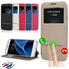 Slim Flip Window View Leather Smart Case Cover For iPhone Samsung LG Phone
