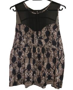 PORTMANS   Women's Babydoll Sleeveless Blouse Top   Geometric Design   Size 12