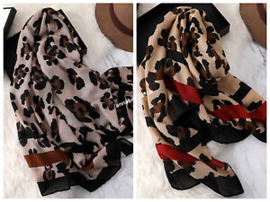 Women's Leopard Print Animal Print Scarf Brown Red Stripe Scarves Shawl Wrap New