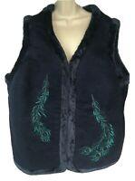 D & Co Denim & Company Peacock Vest 2X Blue Quilted Zipper Vest Faux Fur Lined