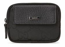 GUCCI Authentic Nylon 'GG' Logo Monogram Coin Purse Mini Zip ID Wallet BLK *NEW*