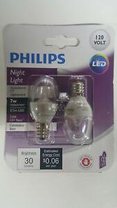 Philips Night Light Bulb, .5w LED 120 Volt Candelabra Base, New 2 Bulbs Per Pack
