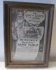 VINTAGE AD FOR BURROWES BALLETTO GAME TABLE IN A WOOD FRAME-BILLIARDS