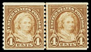 Scott 601 1923 4c Martha Washington Coil Issue Joint Line Pair Fine NH Cat $55