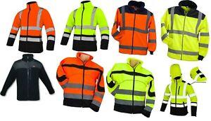 Hi Vis Viz Visibility Fleece Jacket Rain Patch Safety Work Mens Warm Soft Shell