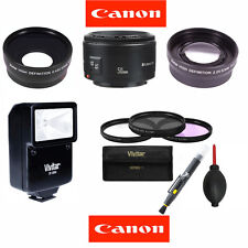 Canon EF 50 mm F/1.8 II Lens + FLASH KIT FOR CANON EOS REBEL T1 T2 T3 T3I T5 T5I