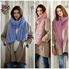 KNITTING PATTERN Ladies 3 Styles Lace & Textured Shawls Chunky King Cole 5183