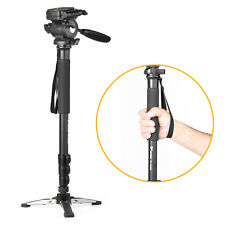 "Professional Fluid Pan Head 57"" Camera Monopod with Folding Three Feet Tripod UK"