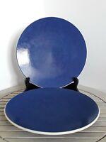 "NEW Vintage Sasaki Colorstone Sapphire Dinner Plates 10 7/8 "" Set of 2 Japan"