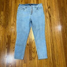 Calvin Klein Ladies Jeans Button Fly Light Wash Blue Jeans Repreve Size 16 NWOT