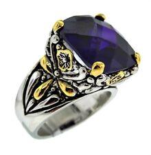 Designer Inspired Blue CZ Crystal Silver Gold Balinese Filigree Ring