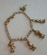 Disney charm bracelet gold metal Mickey Donald Tink 5 charms