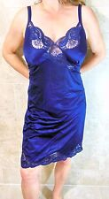 RARE! VANITY FAIR PLUS SIZE VINTAGE BLUE SLIPPERY NYLON LACY FULL SLIP 42 44 EVC