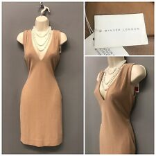 Winser London Beige Plunge Neck Bodycon Dress XS