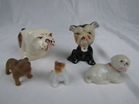 Collection of 5 Bulldog Figurines - China/Pottery - English/French Bulldogs