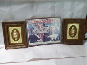 Lot of 2 Vintage Gold Framed Cameo Art & 1 Ringling Bros. 1909 Poster