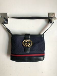 Authentic GUCCI Shoulder Bag GG Blue Canvas Leather w Red Stripe Gold G logo