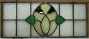 """OLD ENGLISH LEADED STAINED GLASS WINDOW Unframed w Hooks Floral 24.25"""" x 10.25"""""""