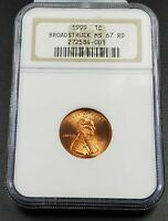 Large Broadstrike Error 1999 P Lincoln Wheat Cent Penny Coin NGC MS67 RD