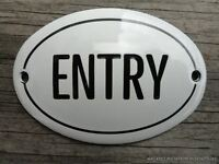 SMALL ANTIQUE STYLE ENAMEL DOOR ENTRY SIGN PLAQUE