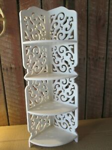 VTG scrolled wood Hanging Wall corner Shelf  boho white decorative