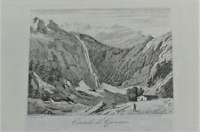 a3-32 Gravure sur acier 19e France pittoresque cascade à Gavarnie 65