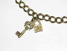 Brand New Bronze ' Padlock and Key ' Charm Bracelet