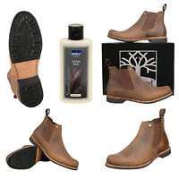Mens Brown Crazy Horse Waxy Leather Ankle Boots With Balm Size 6 7 8 9 10 11 12
