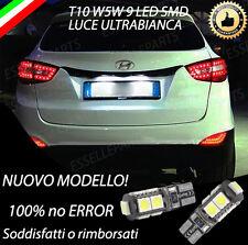 COPPIA LUCI TARGA 9 LED PER HYUNDAI IX35 T10 W5W BIANCO CANBUS 100% NO ERRORE