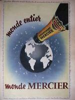PUBLICITÉ DE PRESSE 1955 MONDE ENTIER MONDE MERCIER CHAMPAGNE