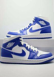 Nike Women's Air Jordan 1 Mid Shoes Size 9.5W Kentucky Blue White BQ6472-104