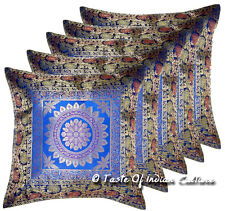 """Mandala 17"""" Blue Pillow Cushion Cover Brocade Throw Indian Decor (Set of 5 Pcs)"""