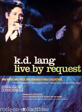KD LANG 2001 LIVE BY REQUEST PROMO POSTER ORIGINAL