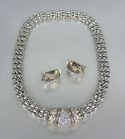 Designer Style Blue CZ Pav'e Crystals Silver Mesh Chain Necklace Earrings Set