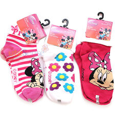 Disney Minnie Mouse Socks Bowtique Turn Cuff Socks Set 3 Pair Size 6-8