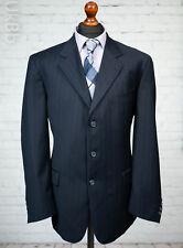Brook Taverner Men's Navy Blue Suit Jacket 44R Single Breasted Pinstripe Wool