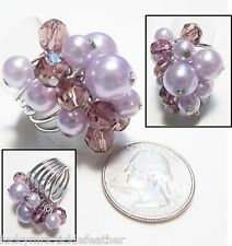 Lg Wide 5-Band Spiral Ring w/Dangly Amethyst Crystals & Lavender Faux Pearls, 7