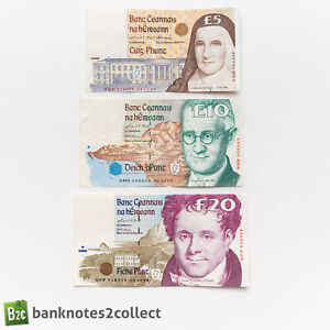 IRELAND: Set of 3 Irish Punt Banknotes.