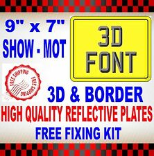 """MOTORCYCLE / MOTORBIKE NUMBER PLATES SHOW PLATES 9"""" x 7"""" PLAIN 3D WITH BORDER"""