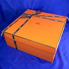 "Hermes Empty Purse Box Storage or Gift Tissue Paper Ribbon  13.5"" x 13.5"" x 5.5"""