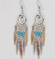 Hot Fashion Popular Bohemia Gold Silver Plated Carved Leaf Tassel Charm Earrings