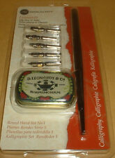 MANUSCRIPT LEONARDT DIP PEN AND 5 NIBS CALLIGRAPHY TIN SET  BRAND NEW SEALED