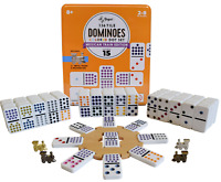 Regal Games Double 15 Mexican Train Dominoes with Wooden Hub and Metal Trains