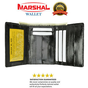 New Eel Skin Leather Trifold ID Style Credit Card Holder Wallet Outside ID