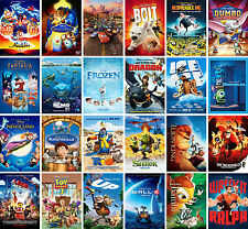 Kids Classic Movie Art Posters - Monsters Inc. Lion King. Toy Story. Cars. Lego