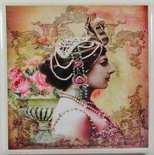 Set of 4 - Handmade Natural Stone Ceramic Tile Drink Coasters - Mata Hari - E