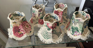 Five Small Vintage Floral Fringed Lampshades Beautiful Little Shades