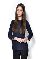 SEXY SEQUIN NAVY WOMENS PARTY CELEB LONG SLEEVE STUDDED EVENING TOP BLOUSE TUNIC